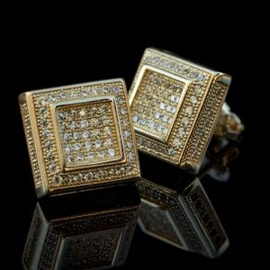 Men's 3D Canary Yellow Square 14K Gold Earrings